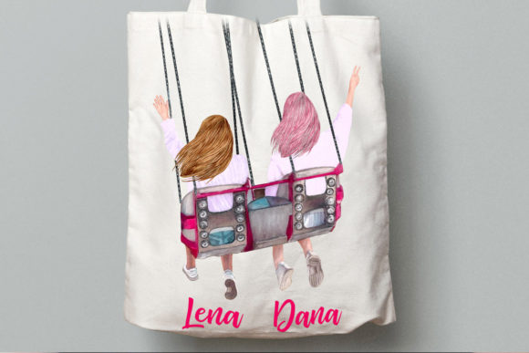 Best Friends Clipart, Girls on Swing Graphic Illustrations By LeCoqDesign - Image 8