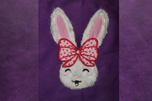 Big Bow Bunny Baby Animals Embroidery Design By teegems242 - Image 1