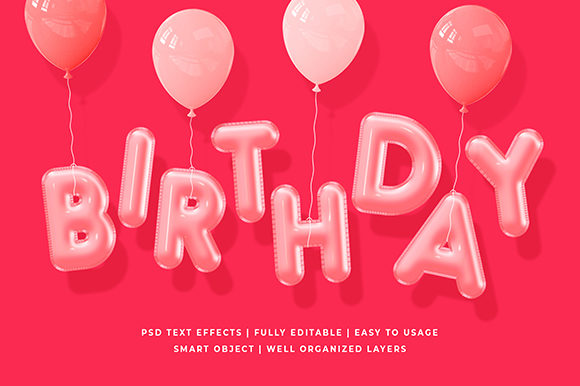 Birthday Party 3d Text Effect Mockup Graphic Layer Styles By Syifa5610