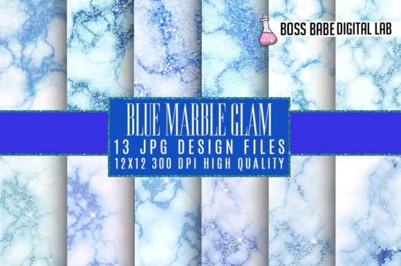 Print on Demand: Blue Glam Marble Digital Paper Graphic Textures By bossbabedigitallab