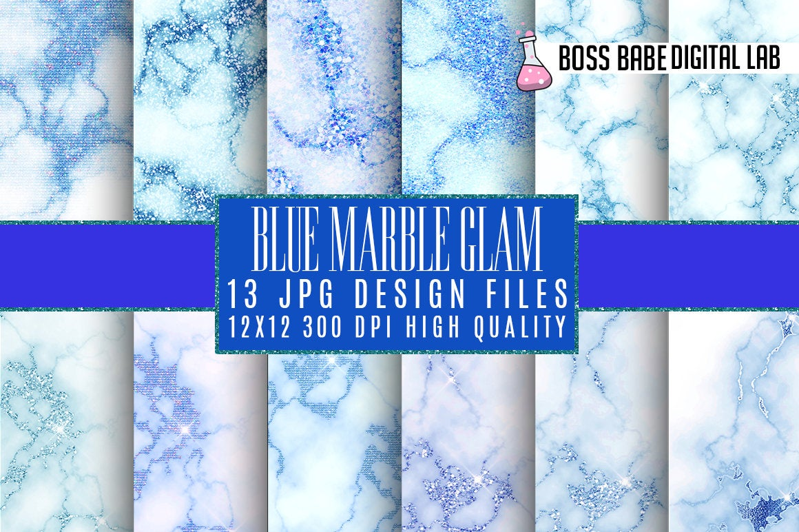 Blue Glam Marble Digital Paper Graphic By Bossbabedigitallab