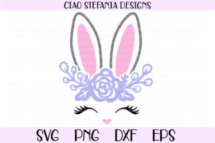 Bunny Face and Ears with Flowers Graphic Crafts By ciaostefaniadigital