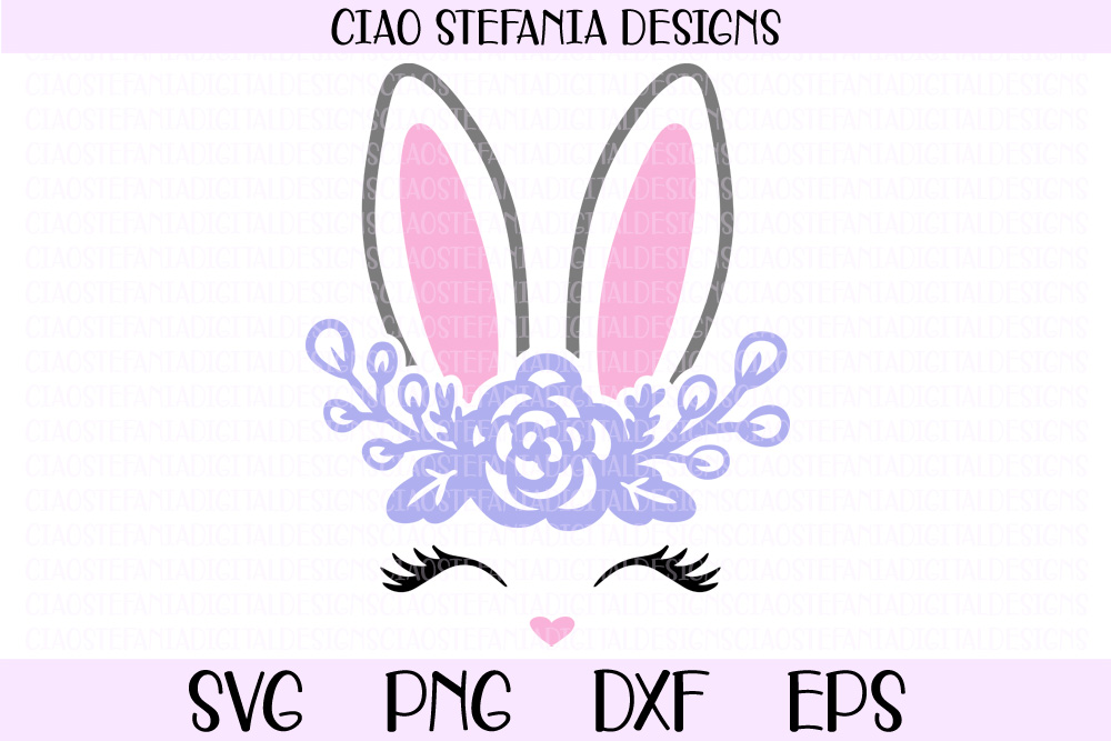 Download Free Bunny Face And Ears With Flowers Graphic By Ciaostefaniadigital for Cricut Explore, Silhouette and other cutting machines.