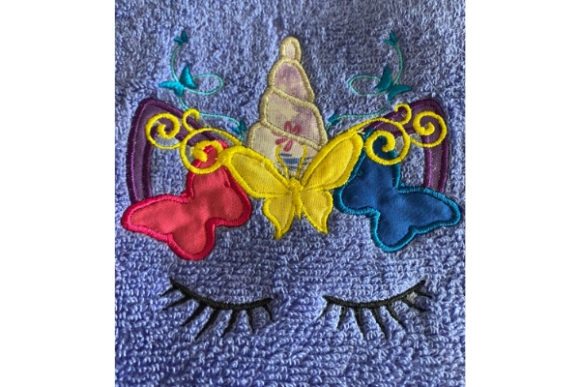 Butterfly Unicorn Applique Fairy Tales Embroidery Design By teegems242 - Image 1