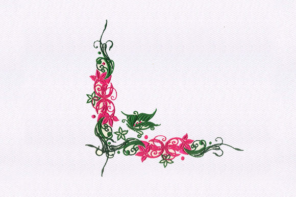 Butterfly Vines Single Flowers & Plants Embroidery Design By DigitEMB