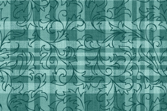 Checkered Background with Holly Outline Graphic Patterns By emikundesigns