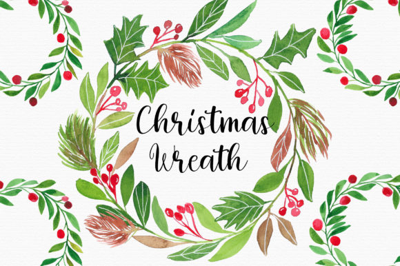 Christmas Watercolor Wreath Clipart Graphic Illustrations By PinkPearly