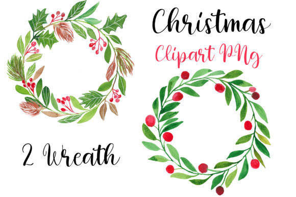 Download Free Christmas Watercolor Wreath Clipart Graphic By Pinkpearly for Cricut Explore, Silhouette and other cutting machines.