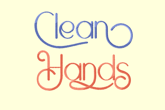 Print on Demand: Clean Hands Lettering Awareness Embroidery Design By setiyadissi
