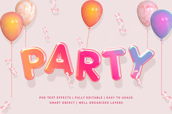 Colorful Party 3d Text Effect Mockup Graphic Layer Styles By Syifa5610