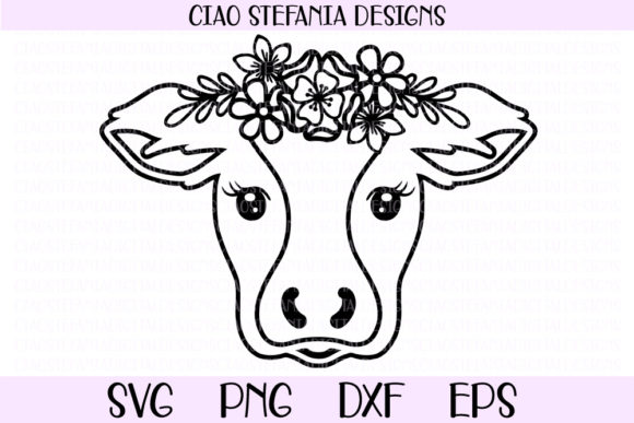 Download Free Cow With Flower Crown Graphic By Ciaostefaniadigital Creative for Cricut Explore, Silhouette and other cutting machines.