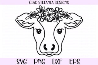 Download Free Cow With Flower Crown Grafico Por Ciaostefaniadigital Creative for Cricut Explore, Silhouette and other cutting machines.
