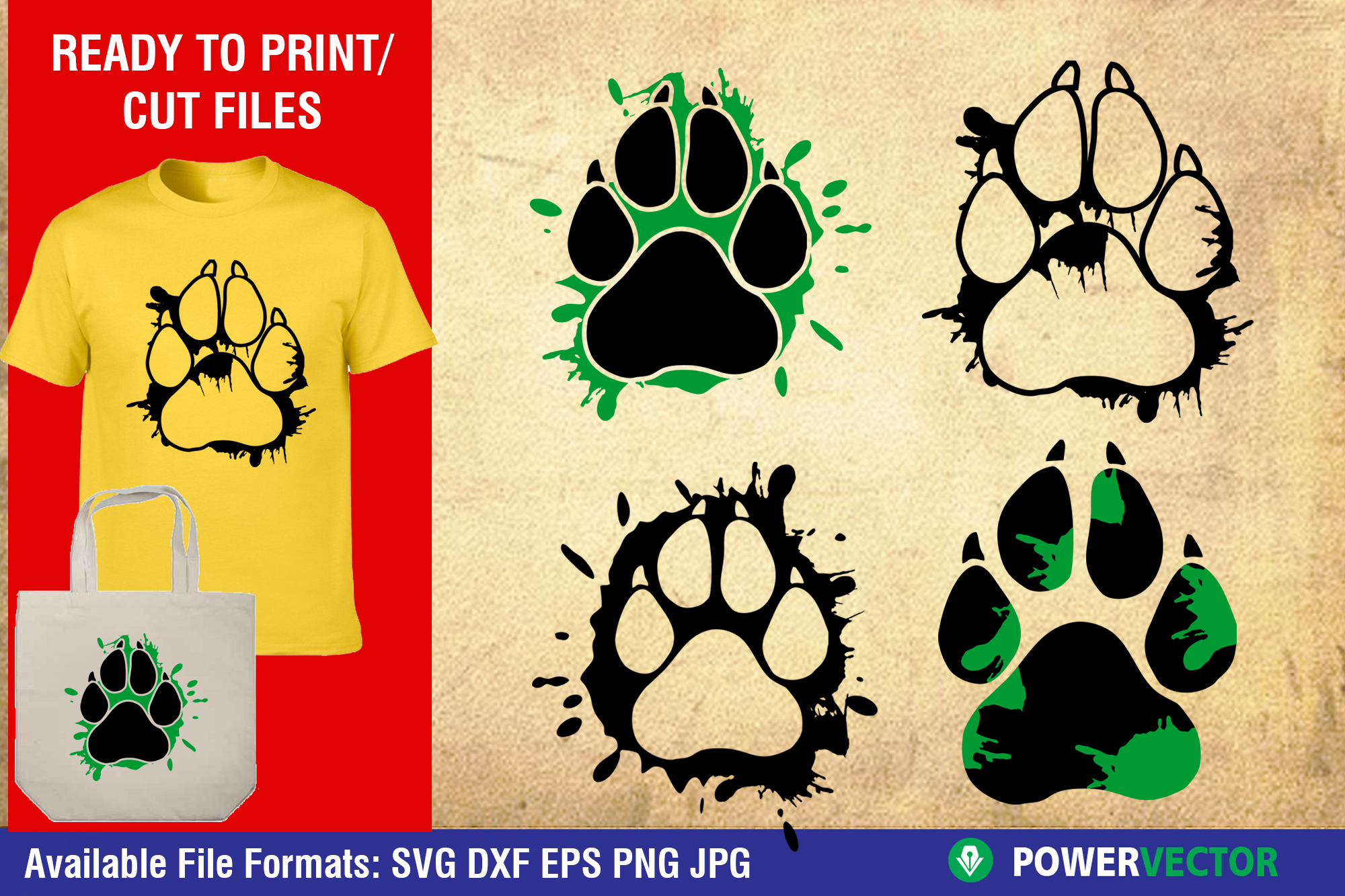 Download Free Dog Paw Prints With Splatter Graphic By Powervector Creative for Cricut Explore, Silhouette and other cutting machines.
