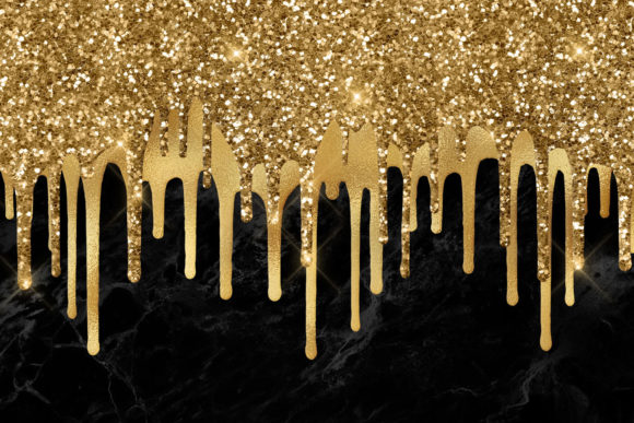 Print on Demand: Dripping Gold Clipart Graphic Textures By Digital Curio - Image 3