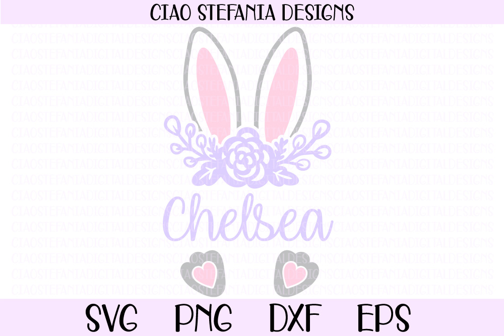 Download Free Easter Bunny Ears Monogram Graphic By Ciaostefaniadigital for Cricut Explore, Silhouette and other cutting machines.