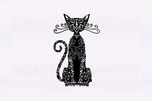 Egyptian Cat Zentangle Embroidery Design By DigitEMB - Image 1