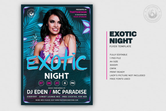 Exotic Night Flyer Template Graphic Print Templates By ThatsDesignStore - Image 2