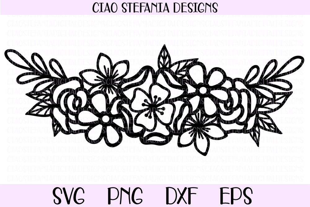 Download Free Flower Bouquet Half Wreath Graphic By Ciaostefaniadigital Creative Fabrica for Cricut Explore, Silhouette and other cutting machines.