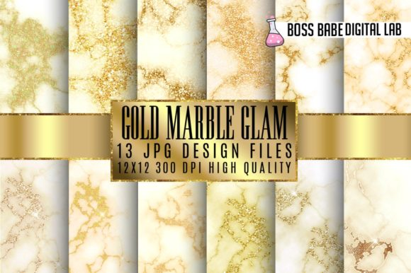 Print on Demand: Gold Glam Marble Digital Paper Graphic Textures By bossbabedigitallab