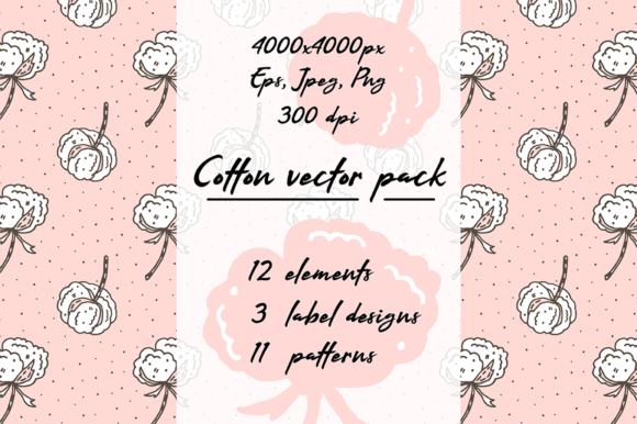 Print on Demand: Hand Drawn Vector Cotton Pack Collection Graphic Patterns By FoxBiz