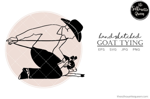 Hand Drawn Goat Tying Vector Sketch Graphic By
