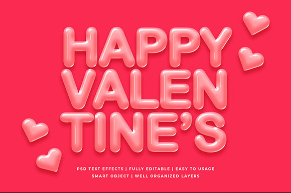 Happy Valentines Day 3d Text Effect Graphic By Syifa5610
