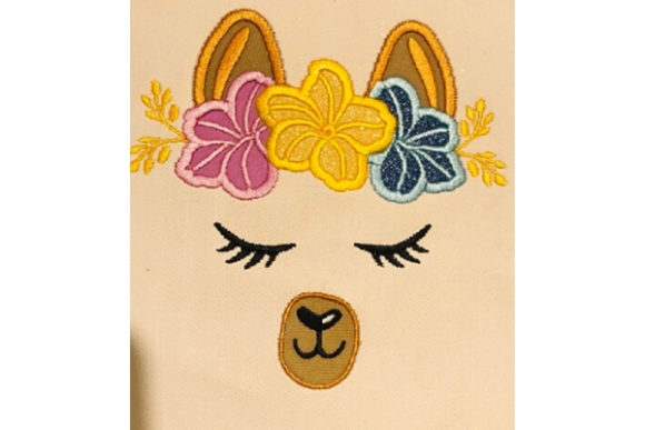 Hawaiian Flower Llama Applique Wild Animals Embroidery Design By teegems242