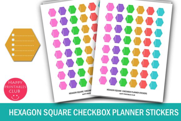 Print on Demand: Hexagon Bullet Dots Checkbox Stickers Graphic Print Templates By Happy Printables Club
