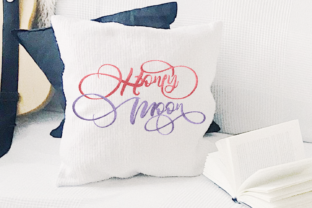Print on Demand: Honeymoon Lettering Wedding Quotes Embroidery Design By setiyadissi