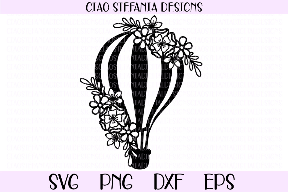 Download Free Hot Air Balloon With Flowers Graphic By Ciaostefaniadigital for Cricut Explore, Silhouette and other cutting machines.