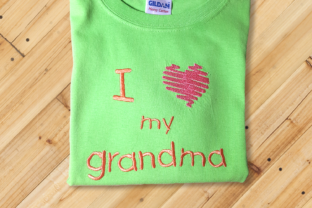 I Heart My Grandma  Grandparents Embroidery Design By DesignedByGeeks