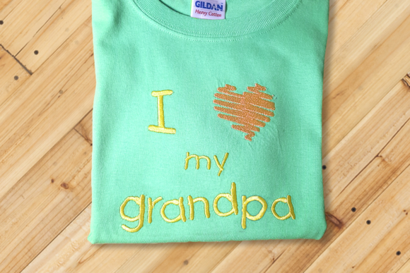 I Heart My Grandpa Grandparents Embroidery Design By DesignedByGeeks