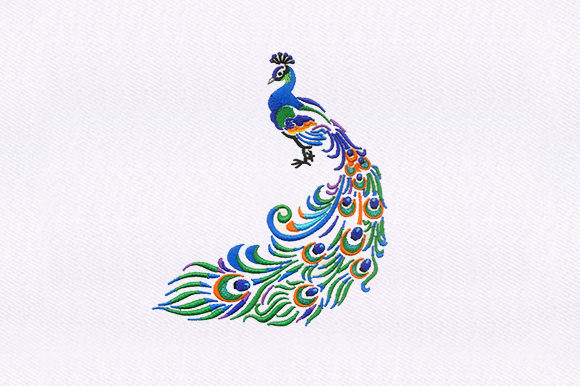 Indian Peacock Vögel Stickdesign von DigitEMB