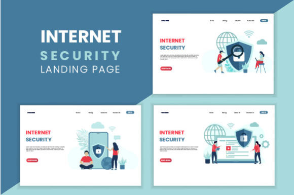 Internet Security Concept Landing Page Graphic Landing Page Templates By HengkiL