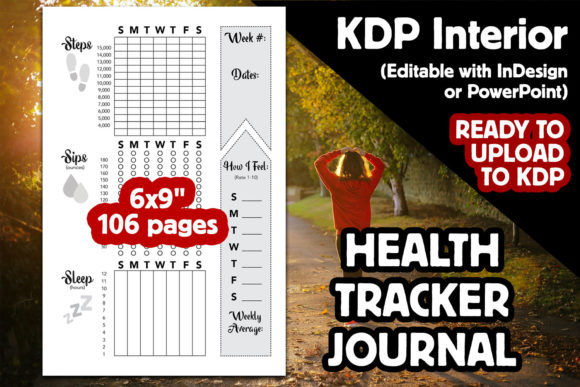KDP Interior | Health Tracker Journal Graphic KDP Interiors By Laura Burke