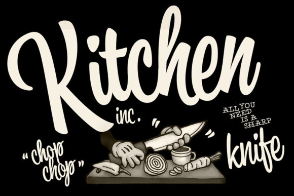 Print on Demand: Kitchen Script & Handwritten Font By fenotypefonts