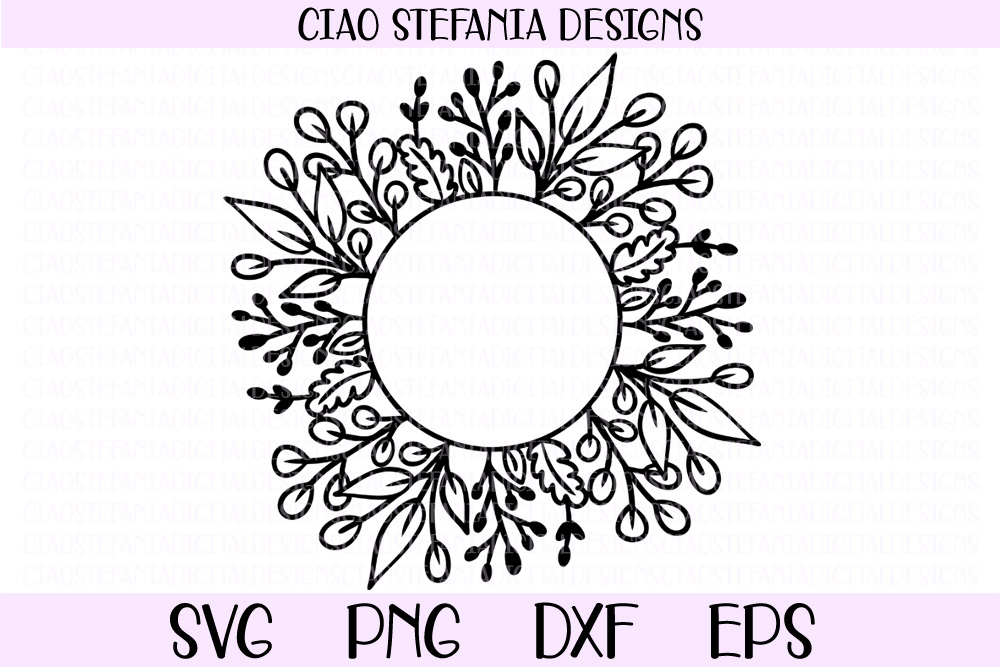 Download Free Leaves Circle Frame Graphic By Ciaostefaniadigital Creative for Cricut Explore, Silhouette and other cutting machines.