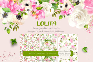 Print on Demand: Lolita Watercolor Spring Flowers Graphic Illustrations By MariaScaroniAtelier