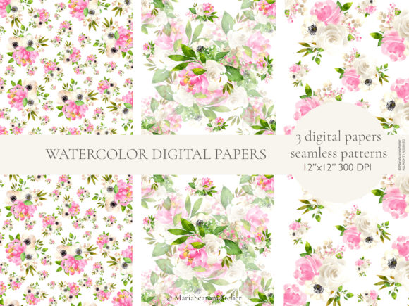 Lolita Watercolor Spring Flowers Graphic Design