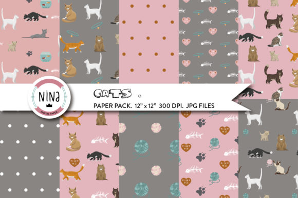 Love Cats Digital Paper Pack Graphic Patterns By Nina Prints
