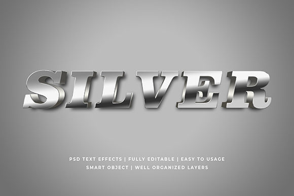 Metallic Silver 3d Text Effect Mockup Graphic By Syifa5610
