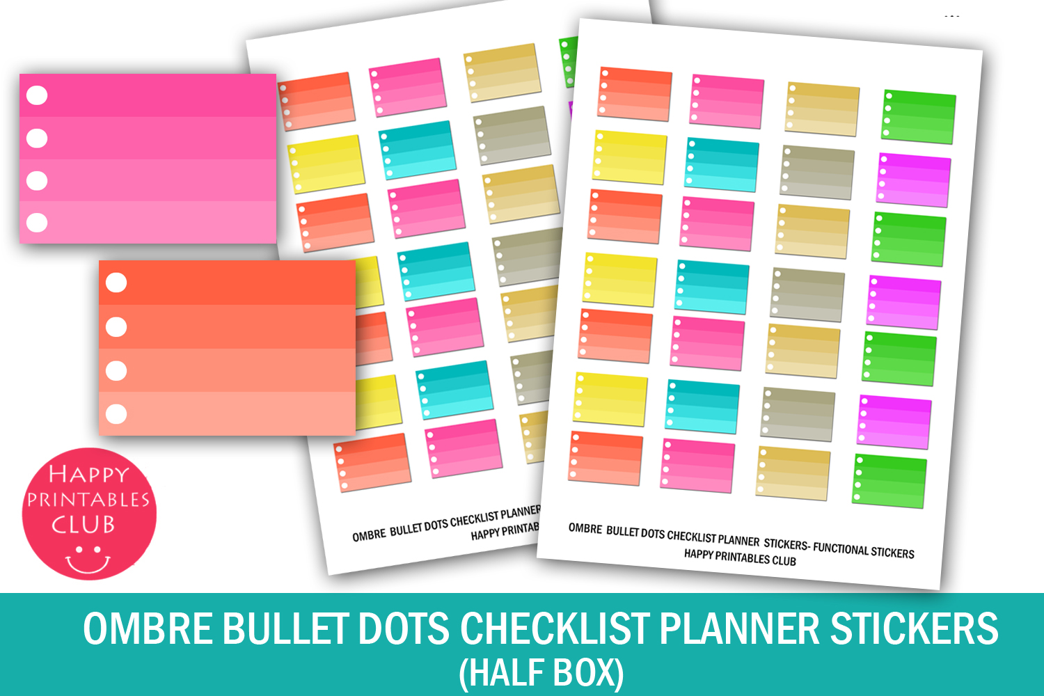 Ombre Bullet Dots Checklist Stickers Graphic By Happy