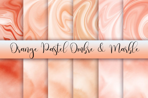 Orange Pastel Ombre and Marble Graphic Backgrounds By PinkPearly