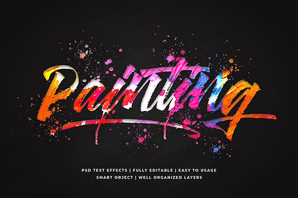 Painting Colorful 3d Text Effect Mockup Graphic Layer Styles By Syifa5610