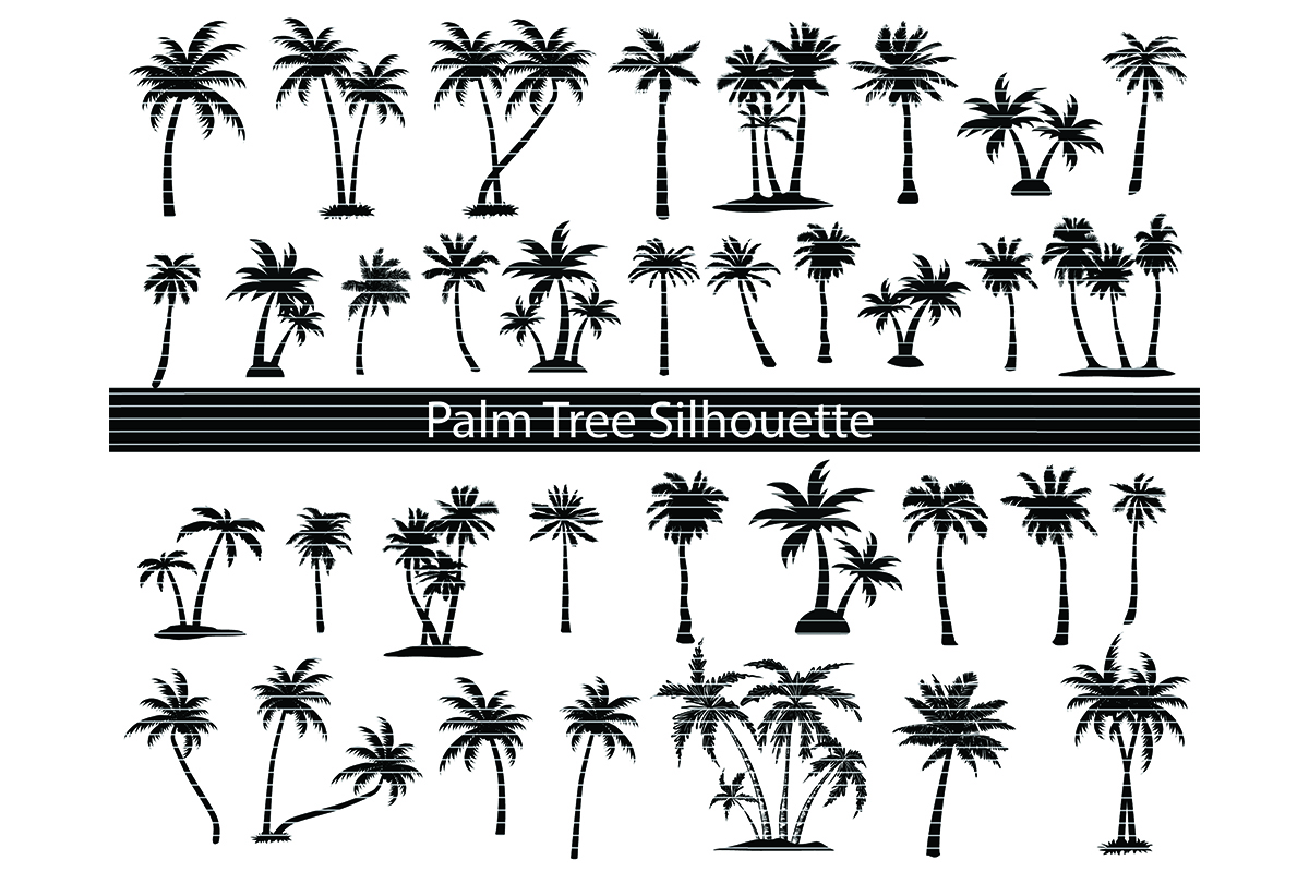 Download Free Palm Tree Silhouette Bundle Graphic By Meshaarts Creative Fabrica for Cricut Explore, Silhouette and other cutting machines.