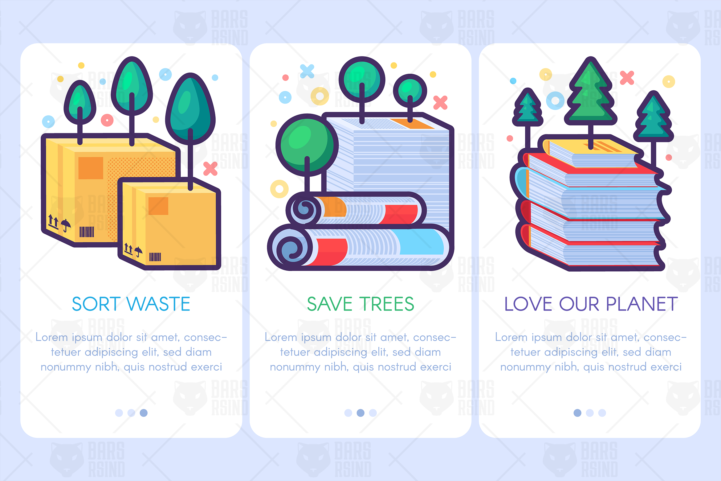 Download Free Paper Waste With Trees Banners Set Grafico Por Barsrsind for Cricut Explore, Silhouette and other cutting machines.