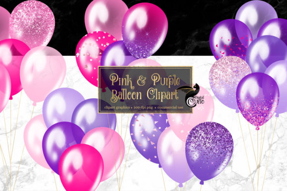 Print on Demand: Pink and Purple Balloons Clipart Grafik Illustrationen von Digital Curio