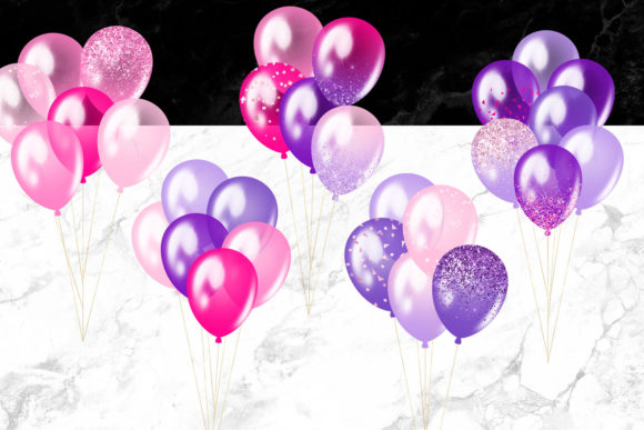 Print on Demand: Pink and Purple Balloons Clipart Graphic Illustrations By Digital Curio - Image 2