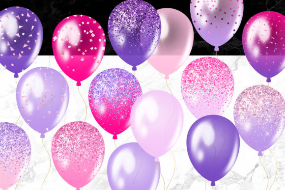 Print on Demand: Pink and Purple Balloons Clipart Graphic Illustrations By Digital Curio - Image 4