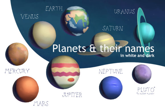 Planets & Stars Graphic Illustrations By AlenaO